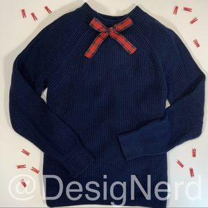J.CREW GAYLE BOW TIE NECK PULLOVER SWEATER NAVY